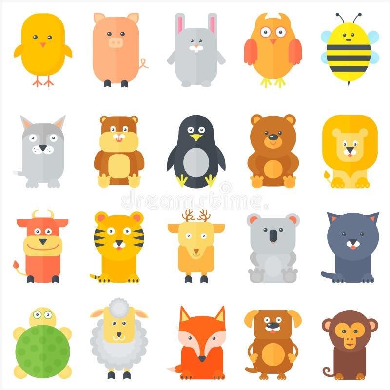 Животное собрание значков Плоские установленные животные также вектор иллюстрации притяжки corel иллюстрация штока