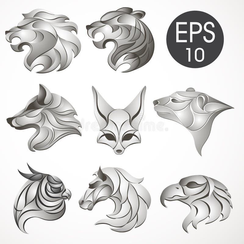 Животное собрание дизайна логотипа Комплект животного Лев, лошадь, орел, волк, белый медведь, лайка, Fennec, тигр иллюстрация штока