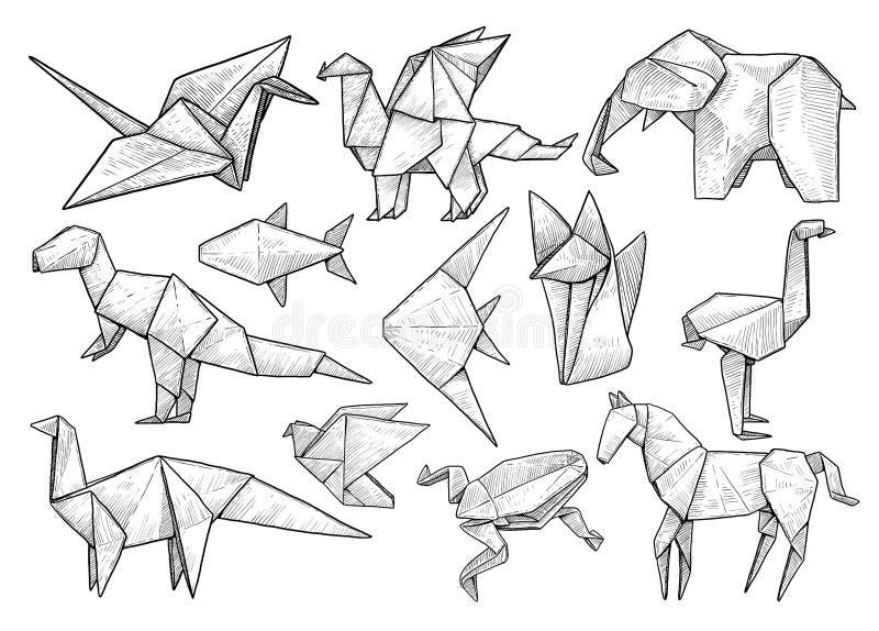 Животное собрание origami, иллюстрация, чертеж, гравировка, чернила, линия искусство, вектор иллюстрация штока