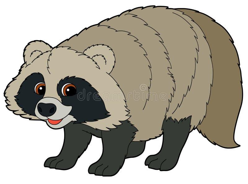 Животное шаржа - енот - иллюстрация для детей иллюстрация вектора