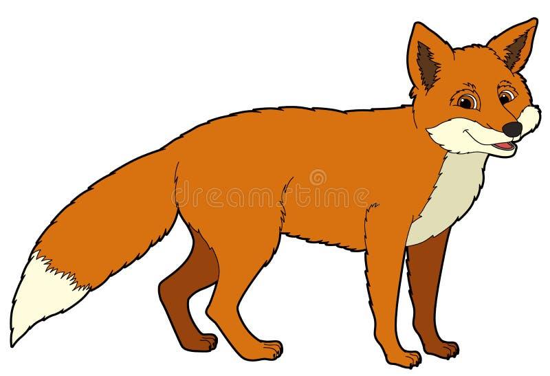 Животное шаржа - лиса - иллюстрация для детей иллюстрация вектора