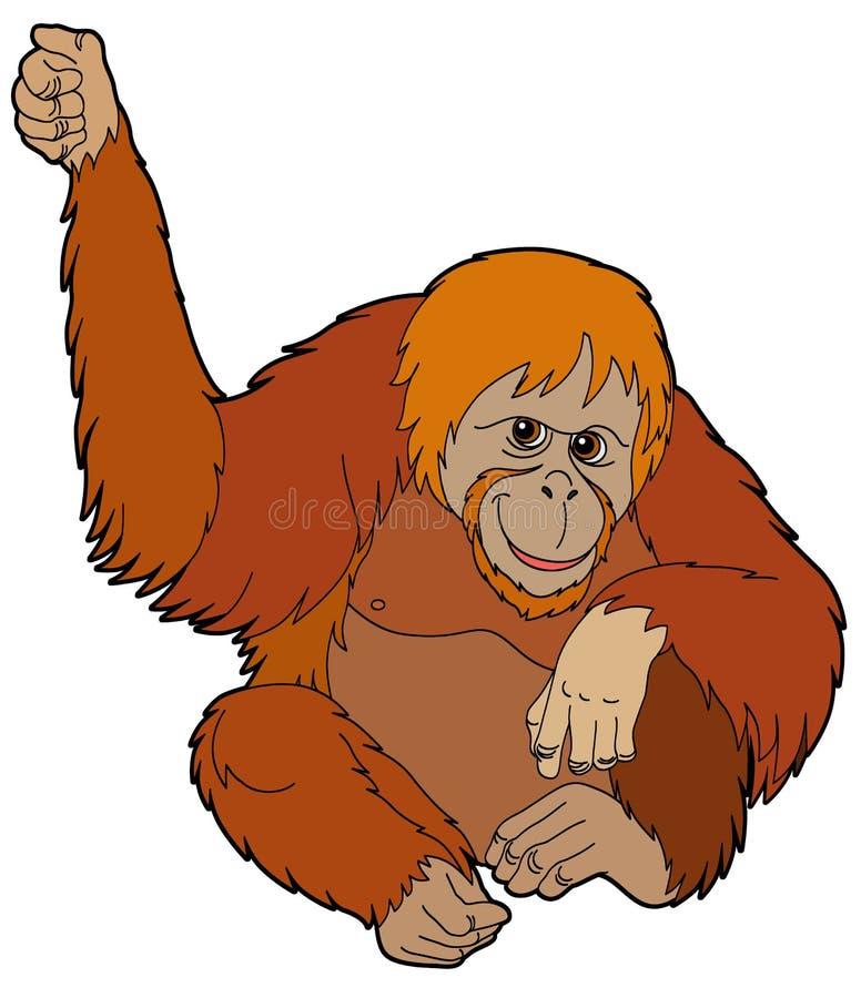 Животное шаржа - орангутан - иллюстрация для детей бесплатная иллюстрация