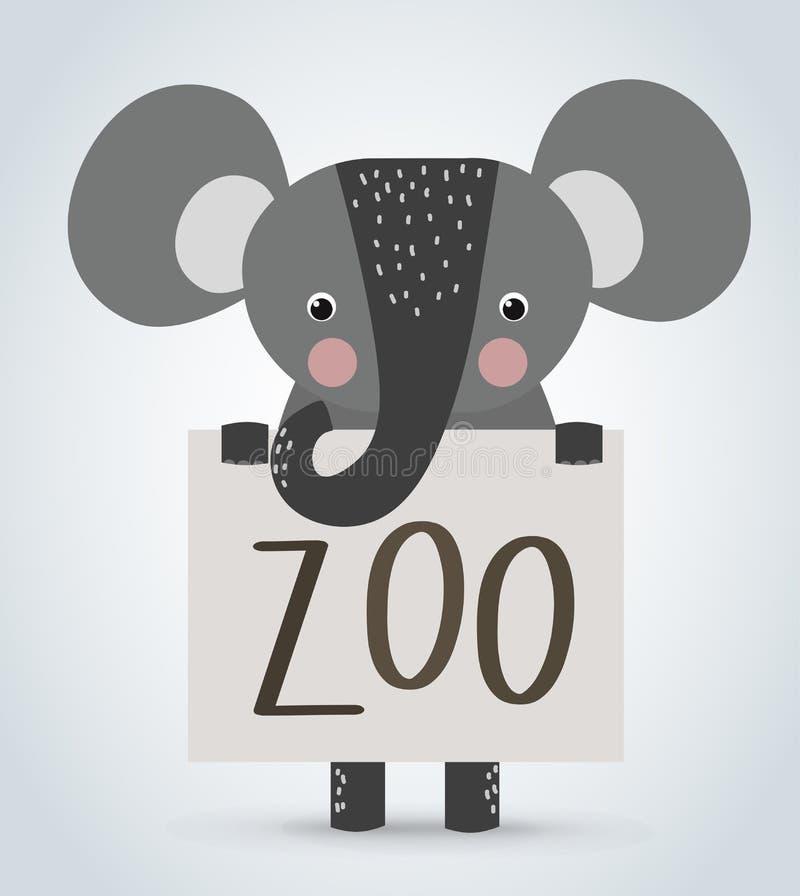 Животное шаржа слона одичалое проводя чистое гостеприимсво иллюстрация вектора