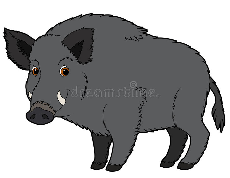 Животное шаржа - хряк - иллюстрация для детей иллюстрация вектора