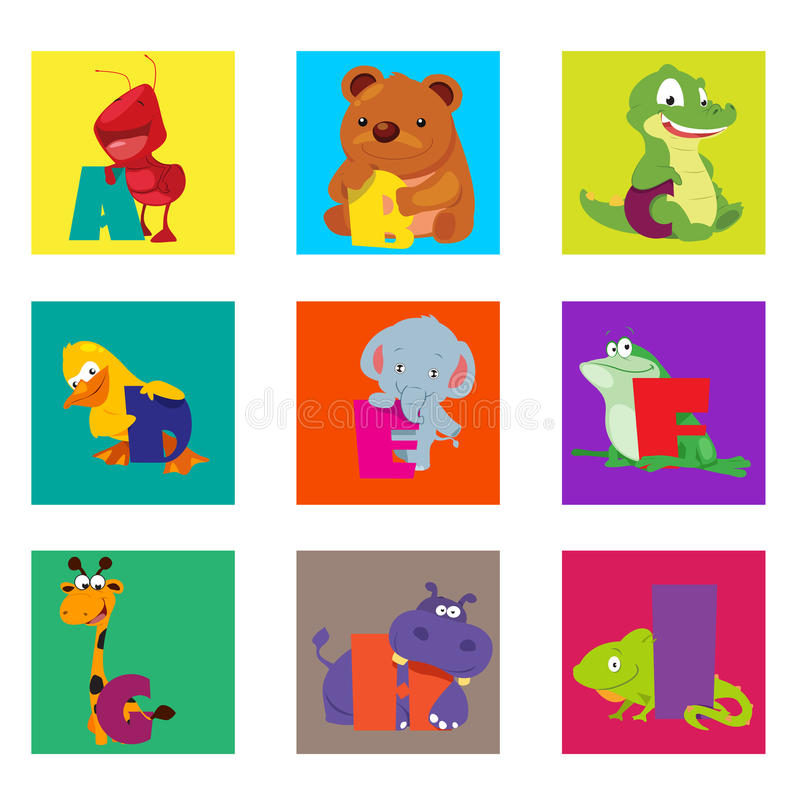 Животные алфавита от a к I иллюстрация штока