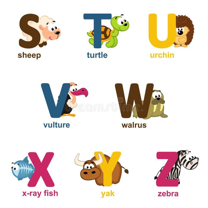 Животные алфавита от s к z иллюстрация вектора