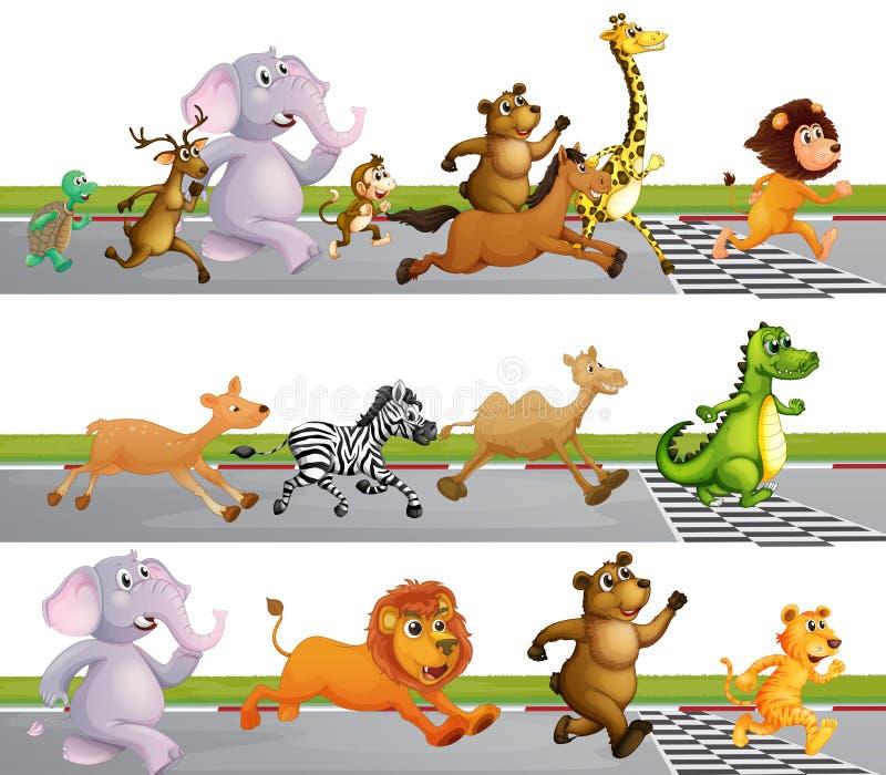 Животные бежать гонка на финишной черте иллюстрация вектора