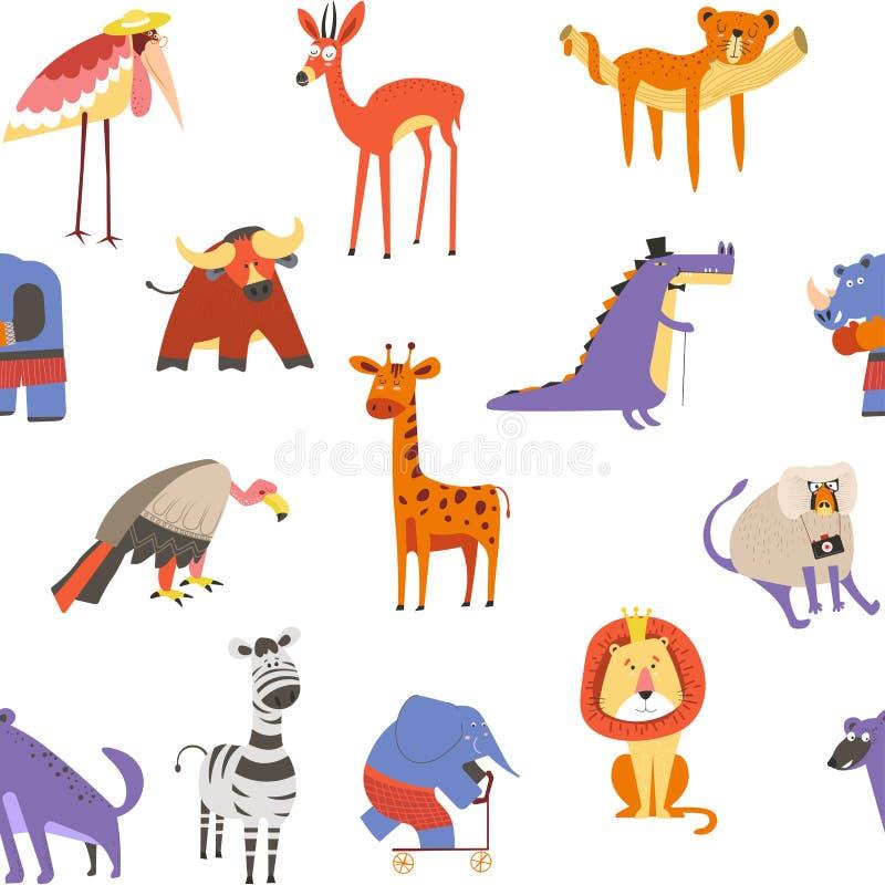 Животные безшовные картина, лев и зебра, макака и слон иллюстрация штока