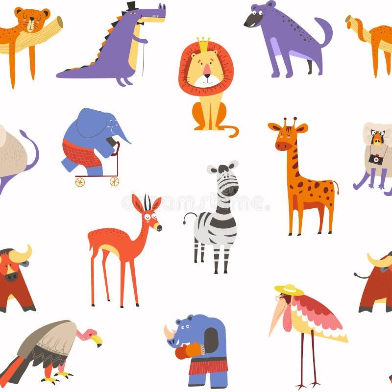 Животные безшовный вектор картины, льва и зебры, макаки и слона иллюстрация вектора