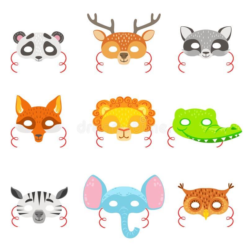Животные бумажные маски установленные значков иллюстрация вектора
