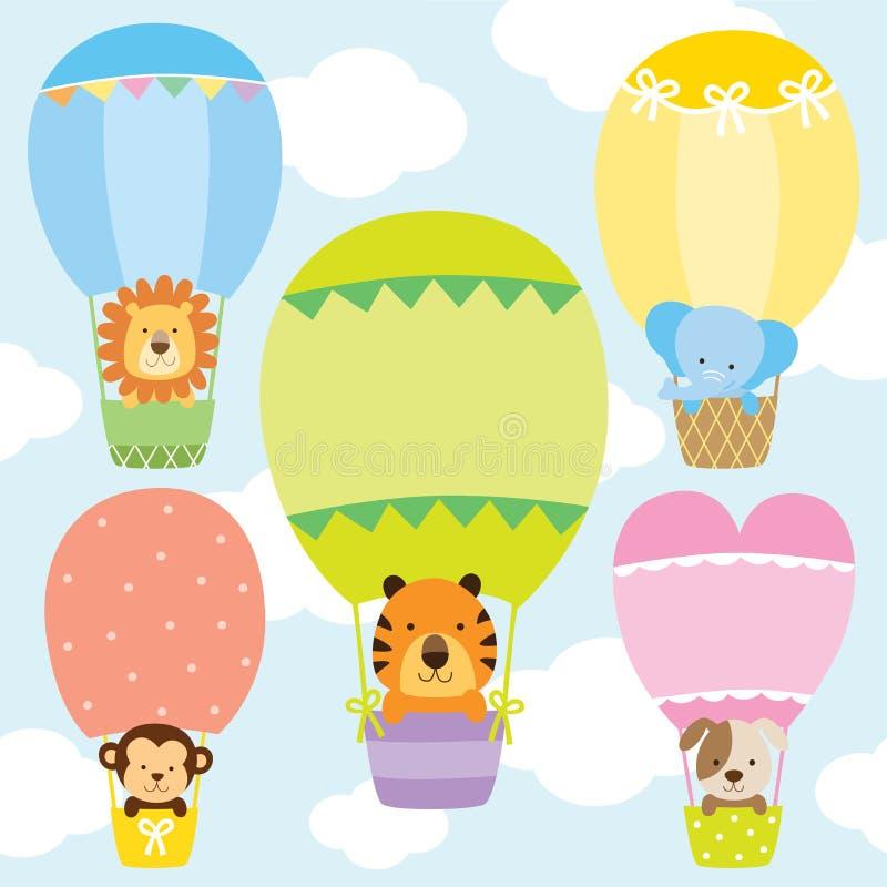 Животные в горячем комплекте иллюстрации вектора воздушных шаров иллюстрация вектора