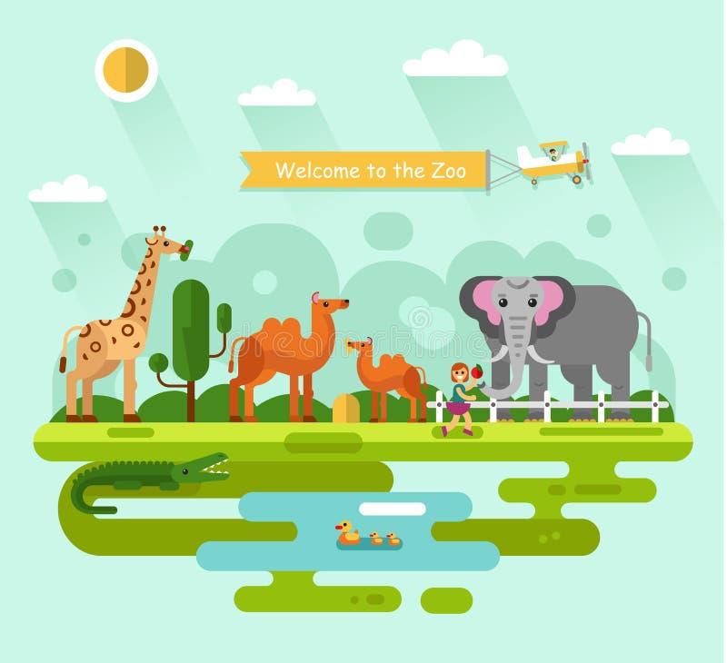 Животные в зоопарке бесплатная иллюстрация