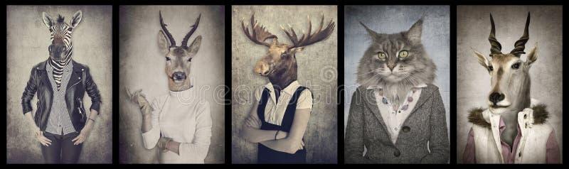 Животные в одеждах График концепции в винтажном стиле иллюстрация штока