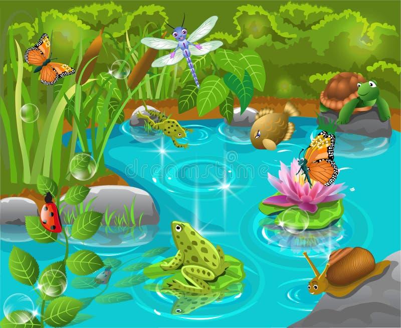 Животные в пруде иллюстрация вектора