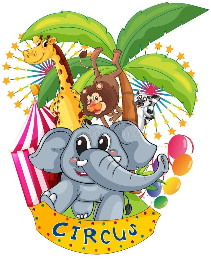 Животные в цирке бесплатная иллюстрация