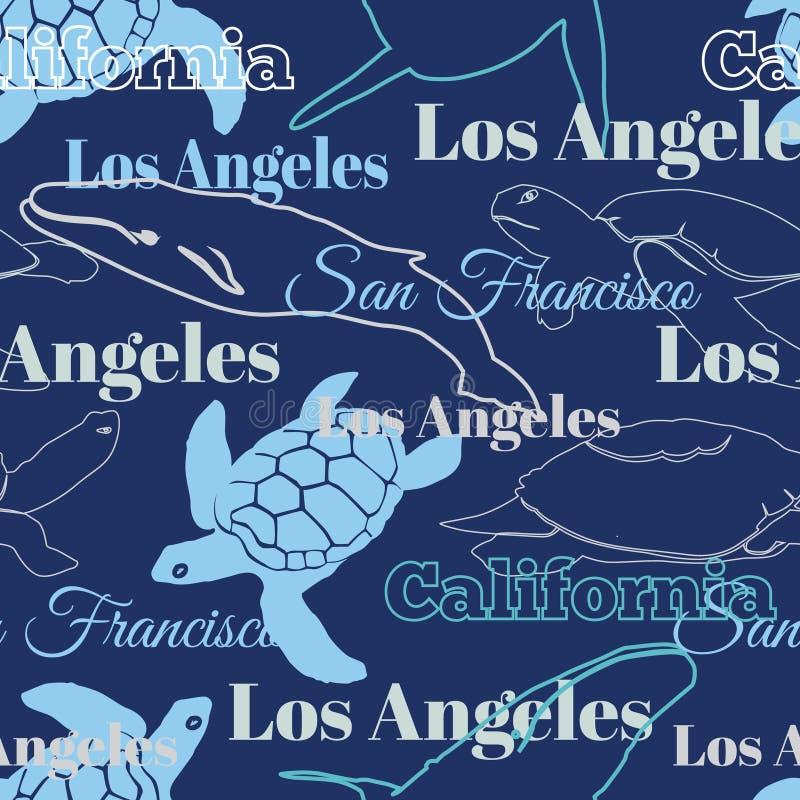 Животные городов Калифорнии перемещения вектора голубые иллюстрация вектора