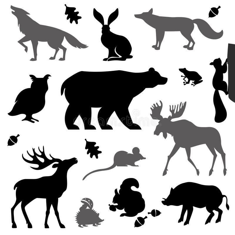 Животные живя в европейском лесе иллюстрация вектора