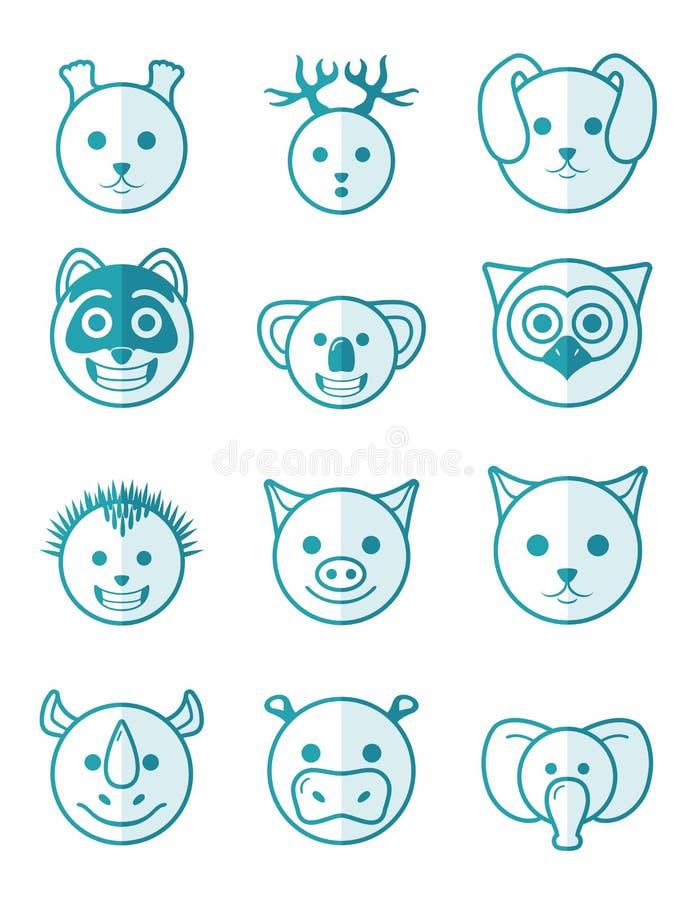 Животные значка установленные голубые бесплатная иллюстрация