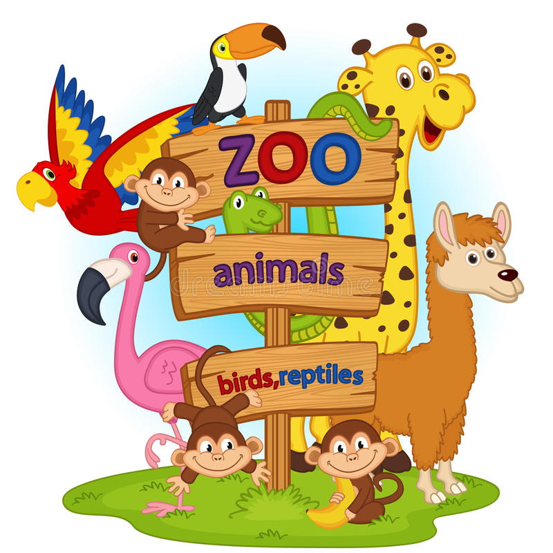Животные зоопарка около деревянного знака бесплатная иллюстрация