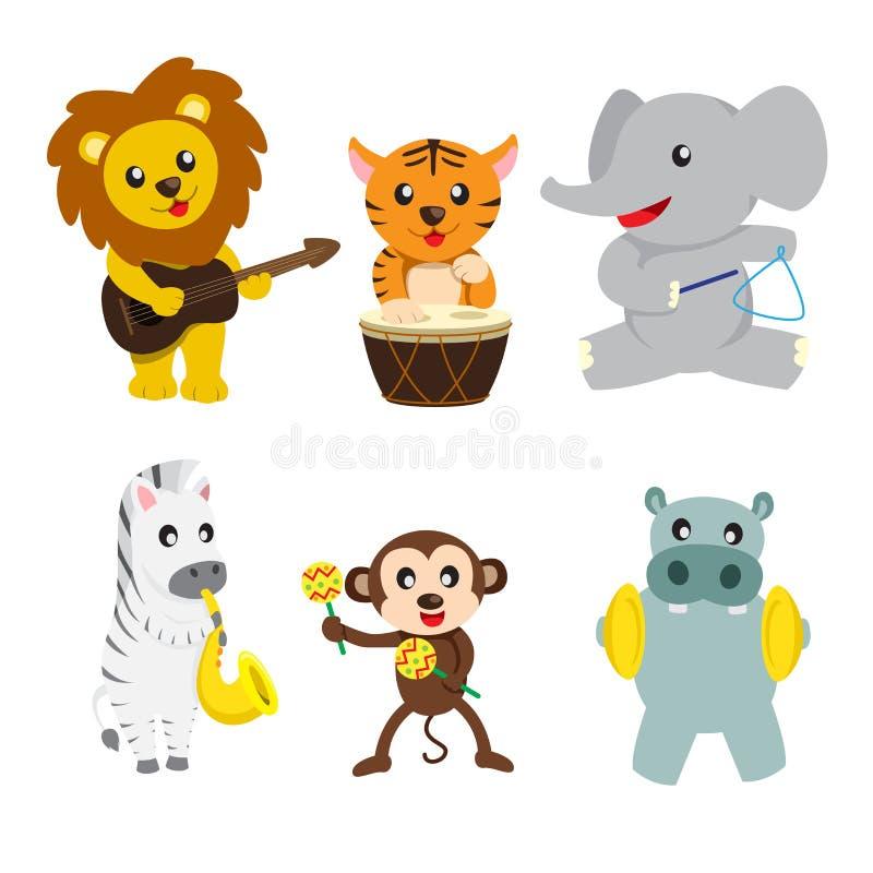 Животные играя нот иллюстрация штока