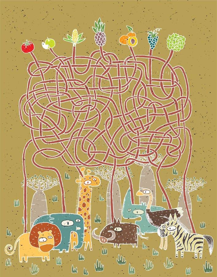 Животные и игра лабиринта еды иллюстрация штока