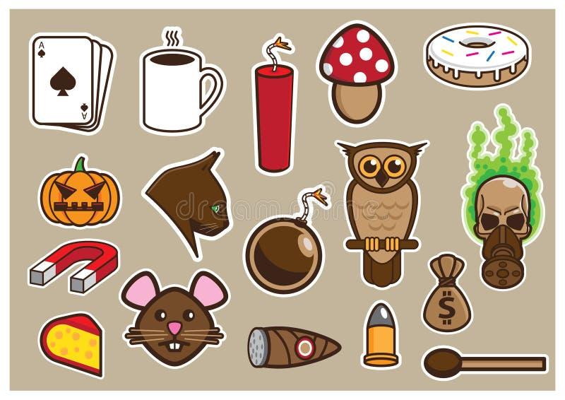 Животные и объекты пакуют иллюстрация штока