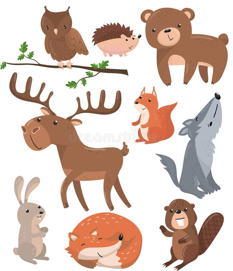 Животные леса установили, птица сыча полесья милая животная, медведь, еж, олень, белка, волк, заяц, лиса, шарж бобра иллюстрация вектора