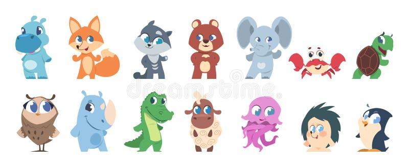 Животные младенца Милые персонажи из мультфильма, меньшие смешные дети дикого и домашнего животного Фауна любимцев и леса вектора иллюстрация штока