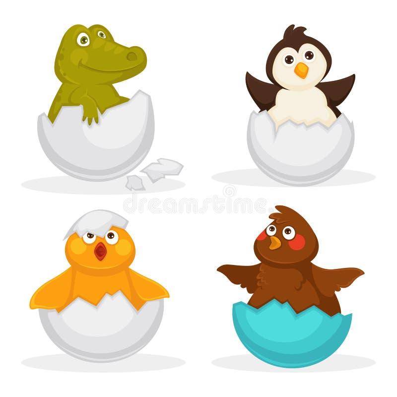 Животные младенца насиживают насиживать яичек или любимчиков шаржа Значки игрушки вектора изолированные квартирой смешные иллюстрация вектора