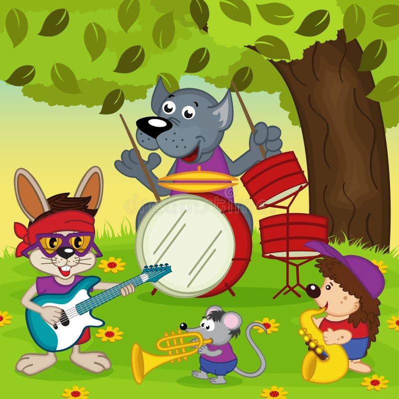 Животные музыканты иллюстрация вектора