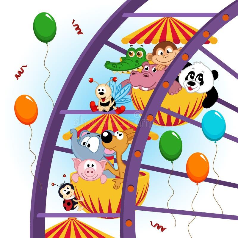 Животные на колесе ferris иллюстрация вектора