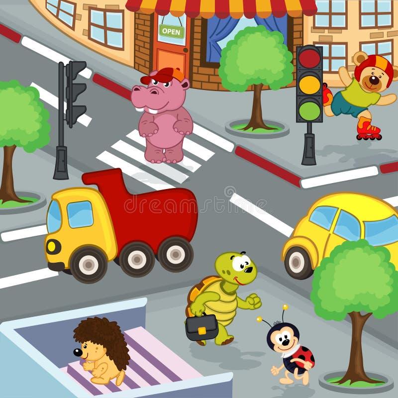 Животные на перекрестках иллюстрация штока