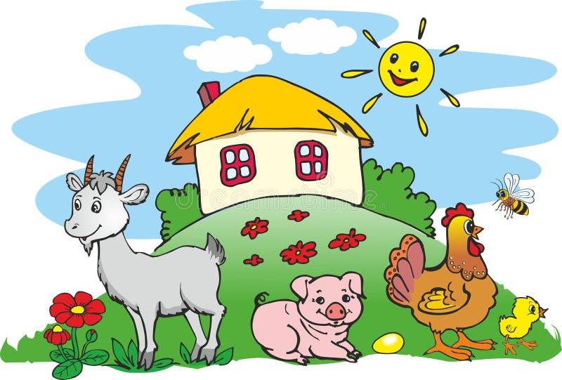 Животные на ферме иллюстрация штока