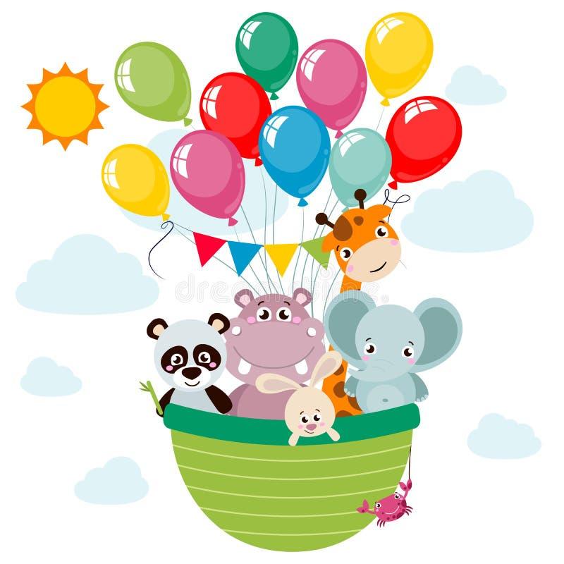 Животные панда, слон, жираф, кролик, гиппопотам, стиль шаржа краба путешествуя горячим воздушным шаром иллюстрация штока
