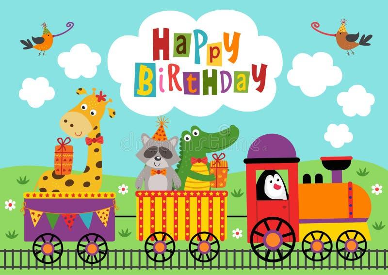 Животные плаката смешные едут поезд с днем рождения иллюстрация штока