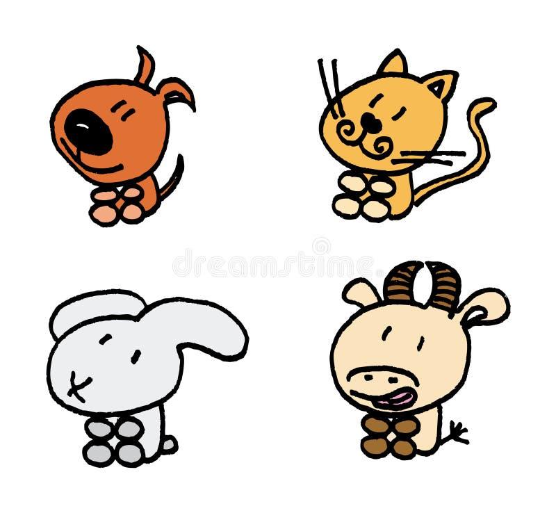 животные самонаводят установленный вектор иллюстрация вектора