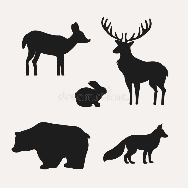 Животные силуэты на белой предпосылке Силуэты оленей, зайцев, медведя и лисы бесплатная иллюстрация