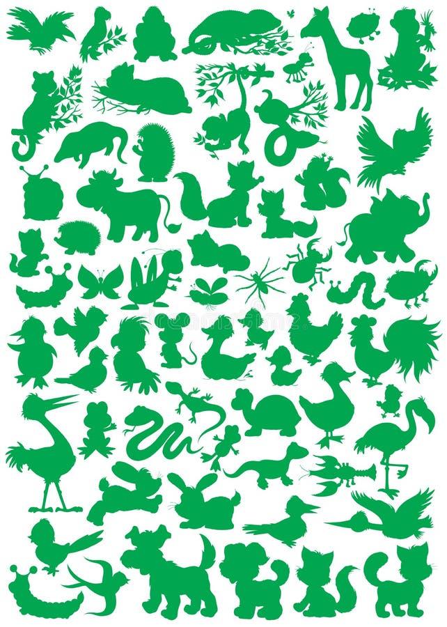 Животные силуэты иллюстрация штока