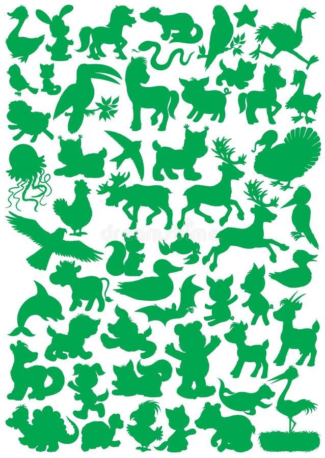 Животные силуэты иллюстрация вектора