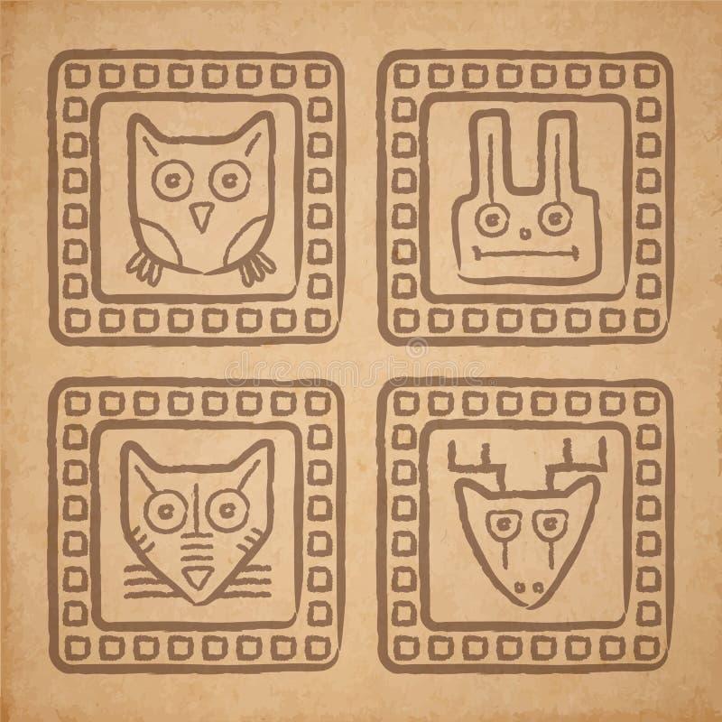 Животные стиля вектора племенные иллюстрация штока