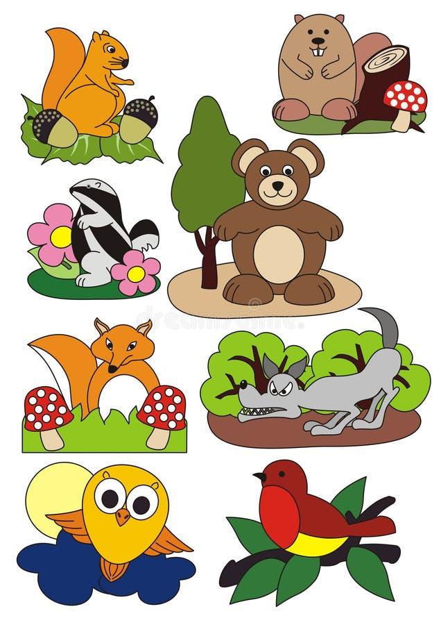 Животные установили, иллюстрация вектора, лес и outdoors бесплатная иллюстрация