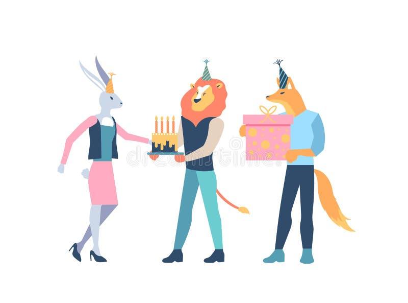 Животные характеры празднуют с тортом, подарочной коробкой стоковые изображения rf