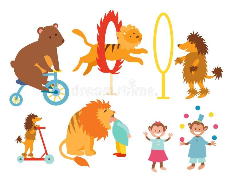 Животные цирка смешные установили масленицы совершителя волшебника любимчиков juggler собрания развлечений зоопарка значков векто иллюстрация штока