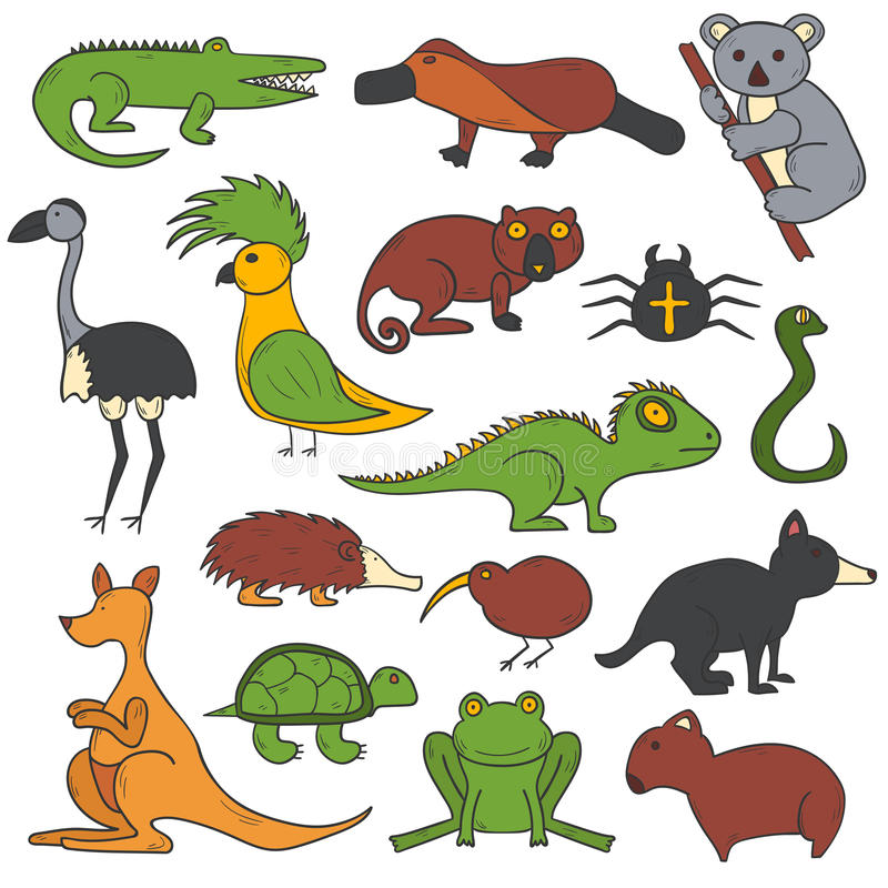 Животные шаржа вектора нарисованные рукой австралийские иллюстрация штока