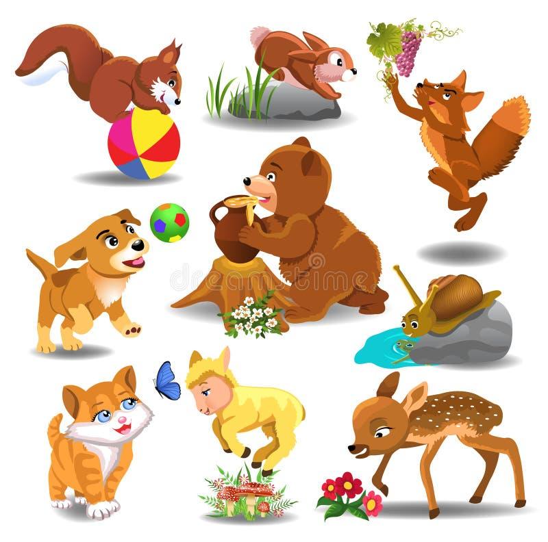 Животные шаржа в действии иллюстрация вектора