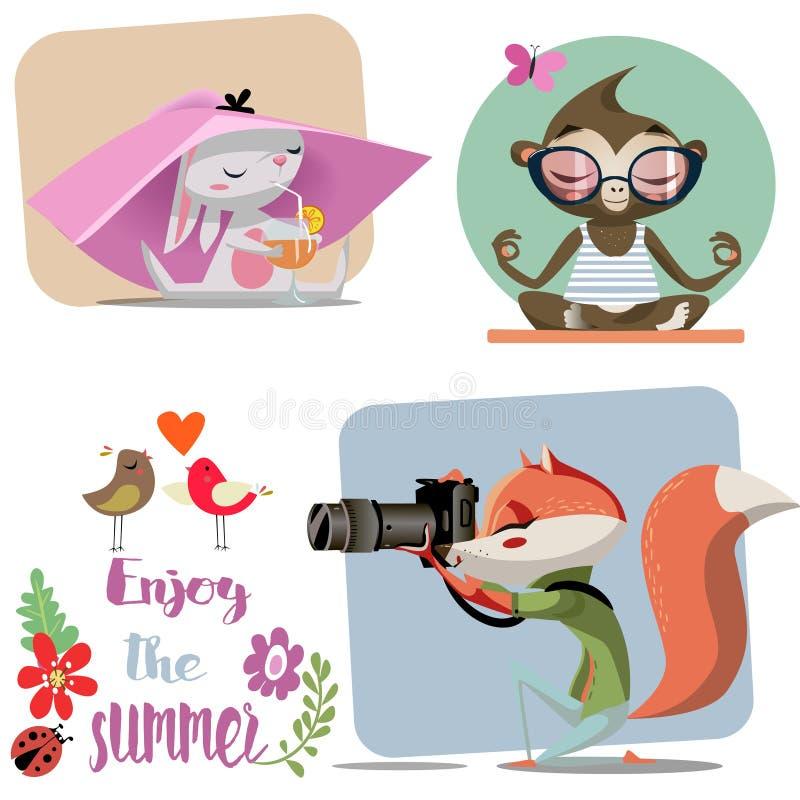 Животные шаржа милые бесплатная иллюстрация