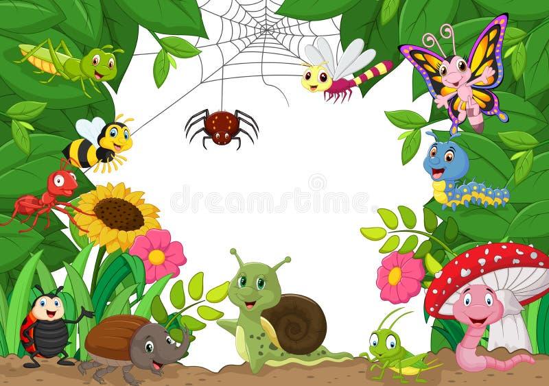 Животные шаржа счастливые маленькие иллюстрация штока