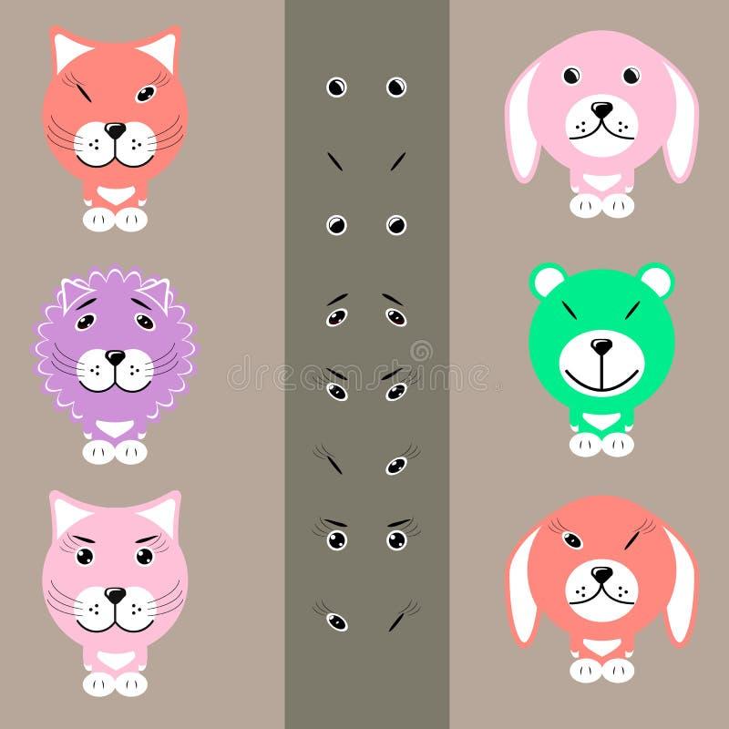 Животные шаржа с различными выражениями лица стоковая фотография rf