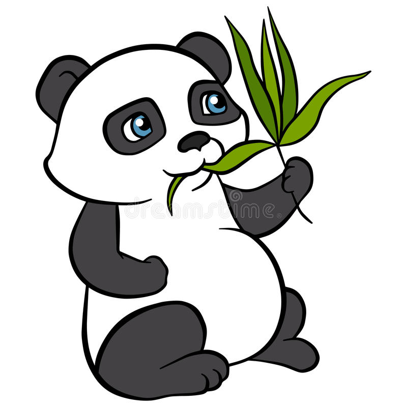 Животные шаржа для детей Маленькая милая панда ест листья бесплатная иллюстрация