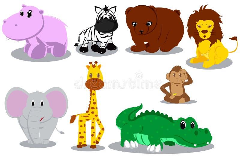 животные шаржи одичалые иллюстрация вектора